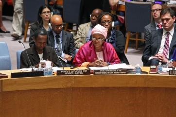 Zainab Hawa Bangura, FN:s särskilde representant för arbetet mot sexualiserat våld i konflikter, talade i säkerhetsrådet igår. Foto: UN Photo/Devra Berkowitz
