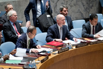 Storbritanniens utrikesminister William Hague i FN igår. Foto: UN Photo/Rick Bajornas