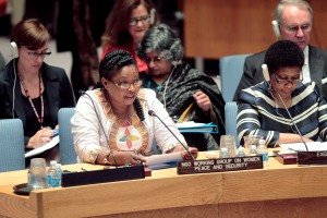 Brigitte Balipou (left), on behalf of the NGO Working Group on Women, Peace and Security, addresses the Security Council's open debate.