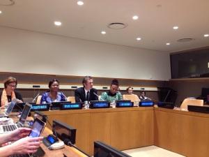 Joy Oneysoh, IKFF Nigeria, och Sylvie Jacqueline Ndongmo, IKFF Kamerun, diskuterar konfliktförebyggande arbete och kvinnors deltagande i regionen på ett event under FN:s möte i New York.