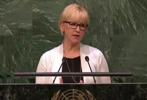 Wallström talade vid NPT-mötet i FN igår. Foto: UN Web TV.